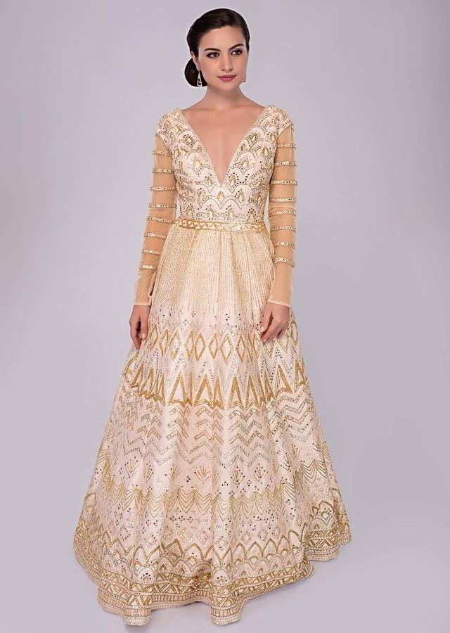 Powder Pink Anarkali Gown In Raw Silk With Resham And Abla Work Online - Kalki Fashion