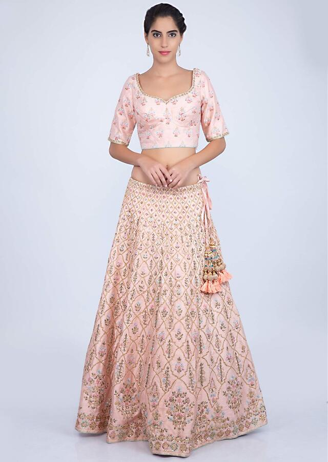 Powder Pink Lehenga In Raw Silk With Heavy Floral Jaal Embroidery Online - Kalki Fashion