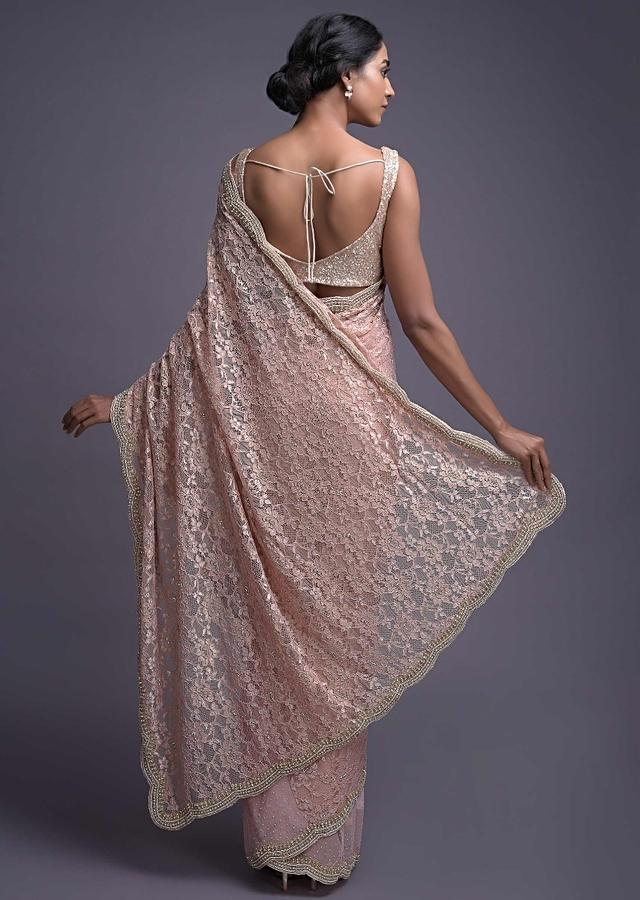 Powder Pink Saree In Floral Lace And Net In Half And Half Pattern Online - Kalki Fashion