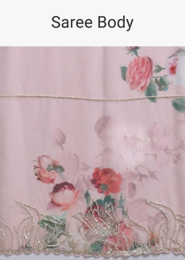 Powder Pink Saree In Georgette With Floral Print Along With Cut Dana And Pearls Work Online - Kalki Fashion