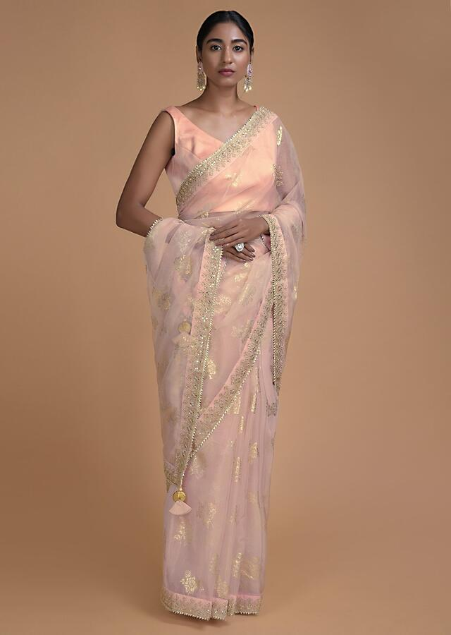 Powder Pink Saree In Organza With Foil Printed Floral Buttis All Over Online - Kalki Fashion