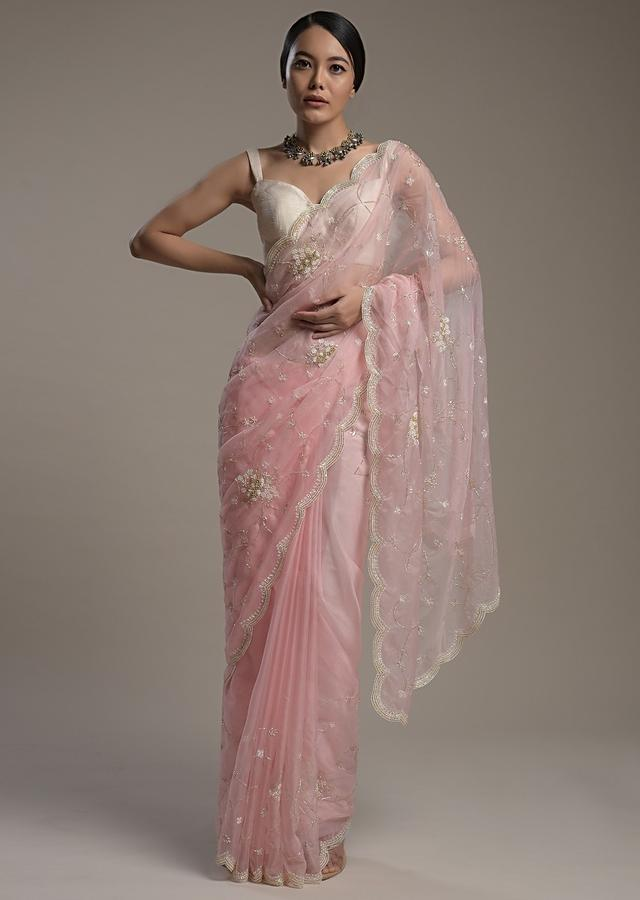 Powder Pink Saree In Organza With Moti And Cut Dana Embroidered Border And Unstitched Blouse Online - Kalki Fashion