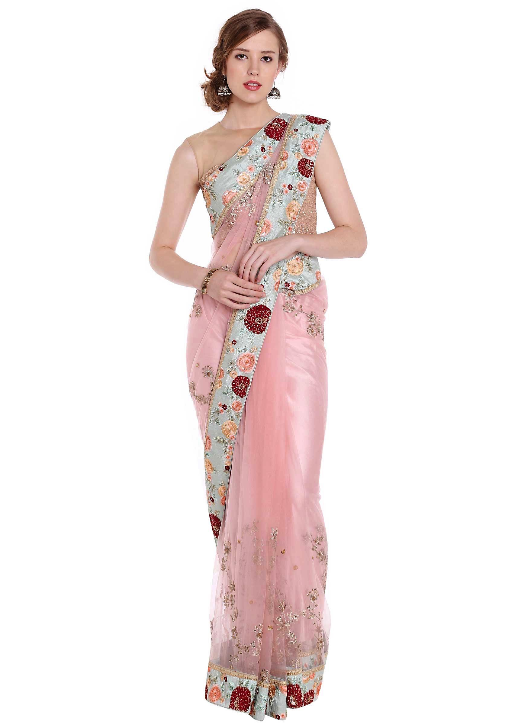 34072911c8cf9 Powder pink saree with floral embroidered border only on KalkiMore Detail