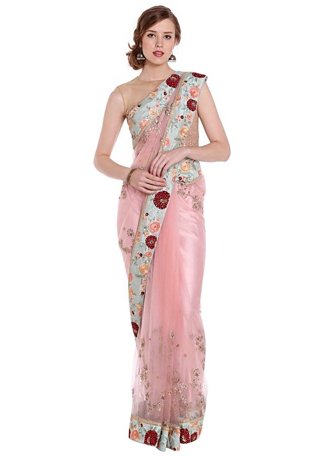 Powder Pink Saree With Floral Embroidered Border Online - Kalki Fashion