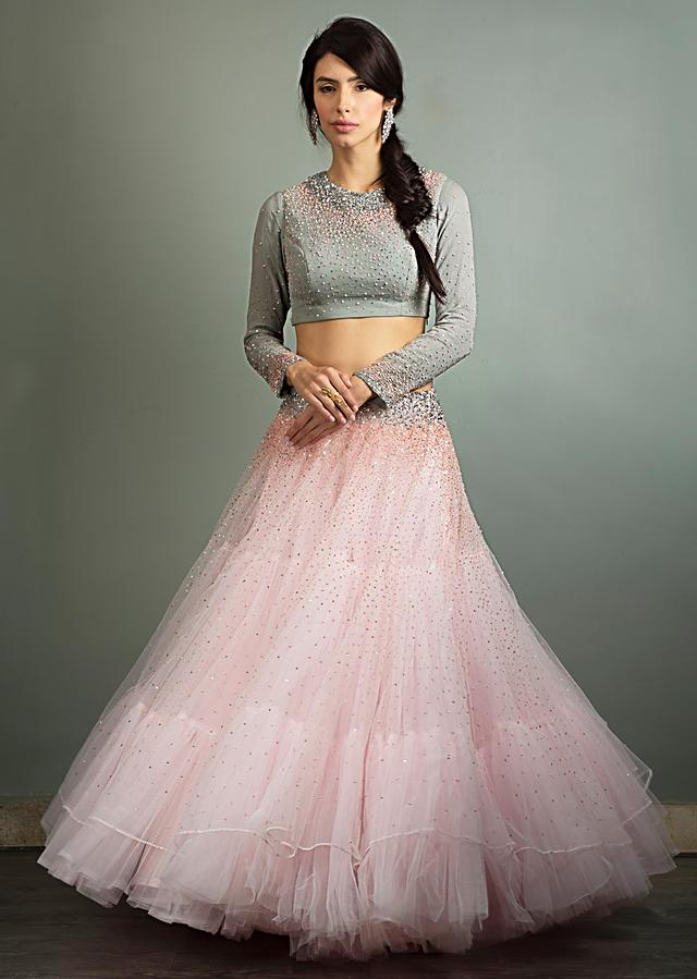 Tanya Sharma in Kalki powder pink sequins embroidered net lehenga with grey georgette blouse