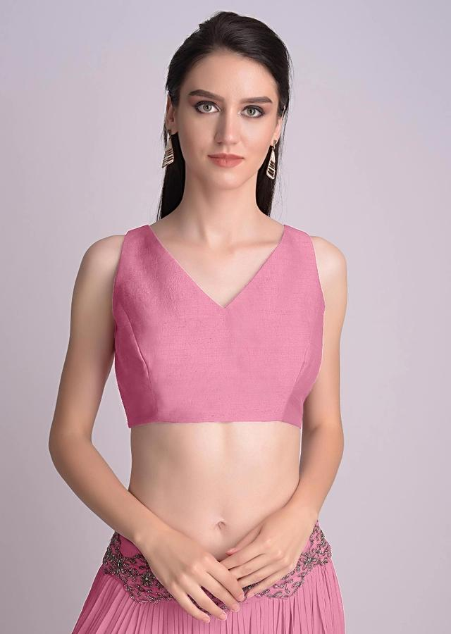 Powder Pink Sleeveless Blouse With V Neckline In The Front And Back Online - Kalki Fashion