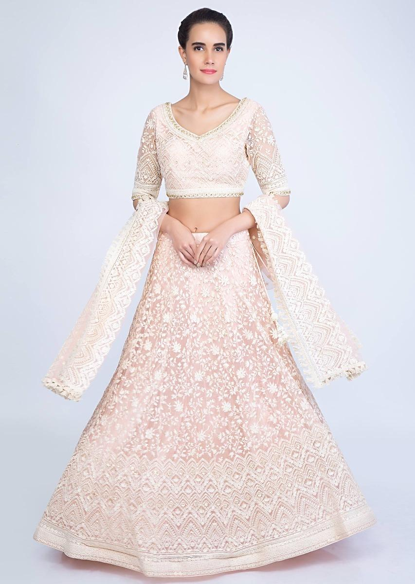 9b0812e7fb Powder pink thread embroidered lehenga with net dupatta only on kalkiMore  Detail