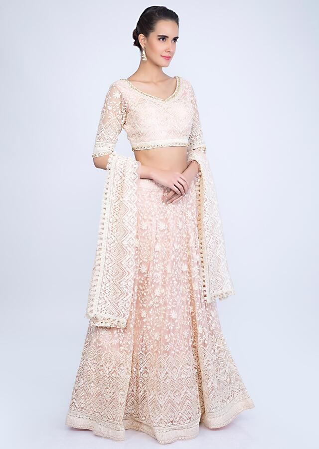 Powder Pink Lehenga With Thread Embroidery And Net Dupatta Online - Kalki Fashion