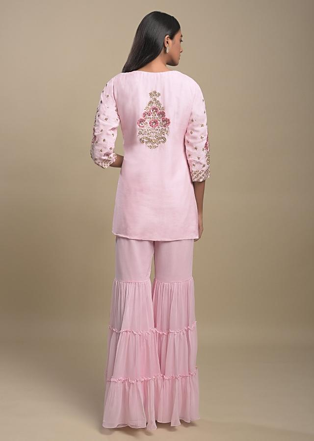 Powder Pink Tiered Sharara Suit With Resham And Cut Dana Work In Floral And Checks Pattern Online - Kalki Fashion