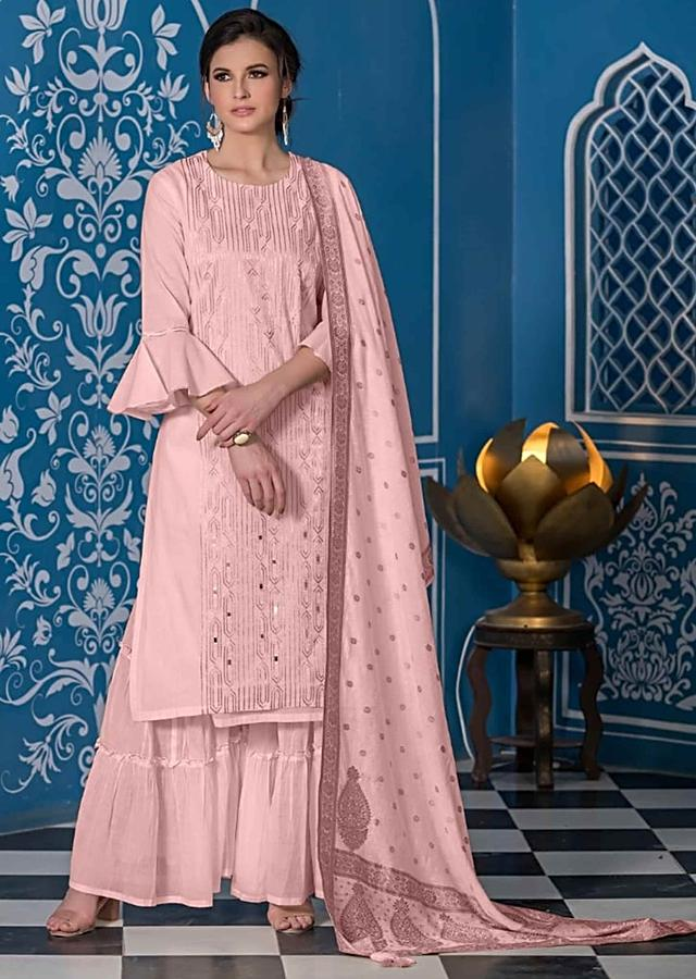 Powder Pink Unstitched Suit Set In Cotton With Zari Embroidery In Geometric Pattern Online - Kalki Fashion