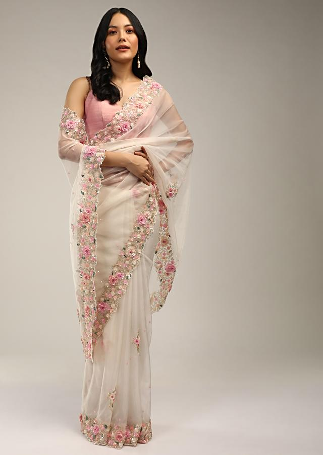 Powder White Saree In Organza With 3D Flower Embroidered Border And Buttis Featuring Multi Colored Moti And Sequins Online - Kalki Fashion