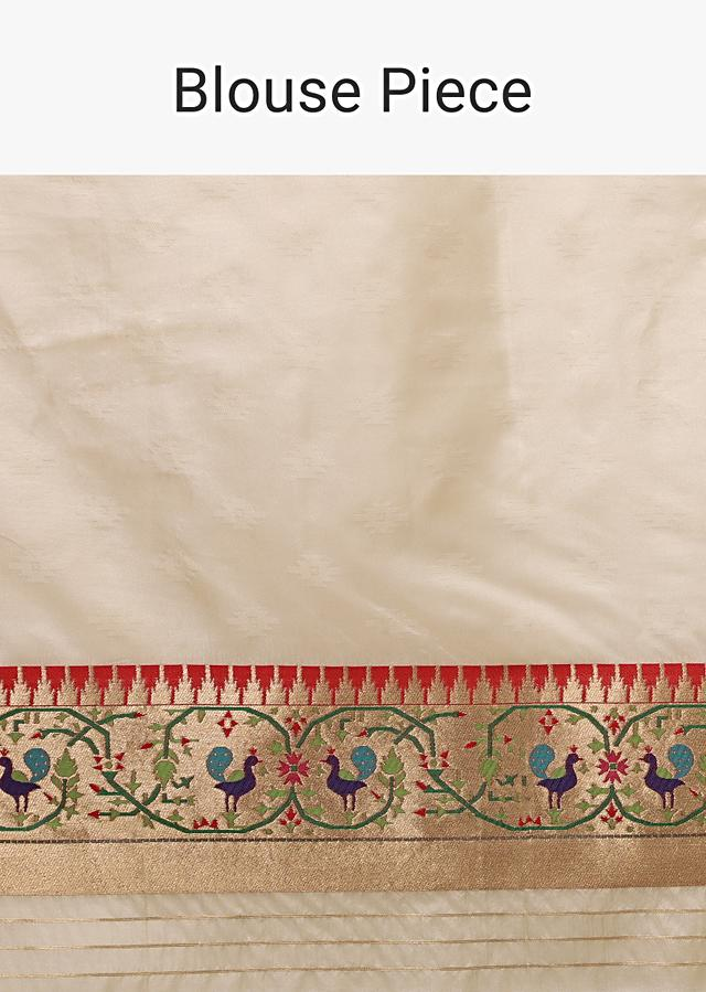 Powder White Saree In Pure Handloom Silk With Woven Geometric Buttis, Peacock Motifs On The Border And Unstitched Blouse Online - Kalki Fashion