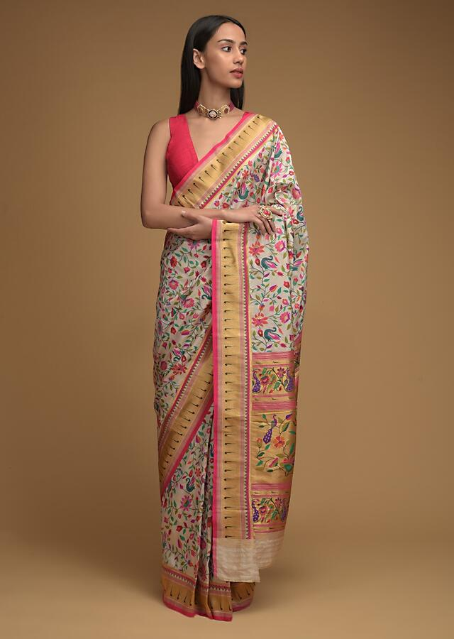 Powder White Saree In Silk With Colorful Brocade Woven Floral Jaal And Bird Motifs On The Pallu Along With Unstitched Blouse Online - Kalki Fashion