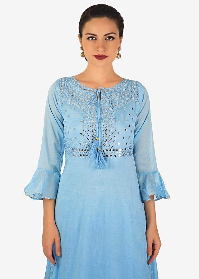Powder Blue Long Dress In Cotton With Mirror And Resham Embroidery Online - Kalki Fashion