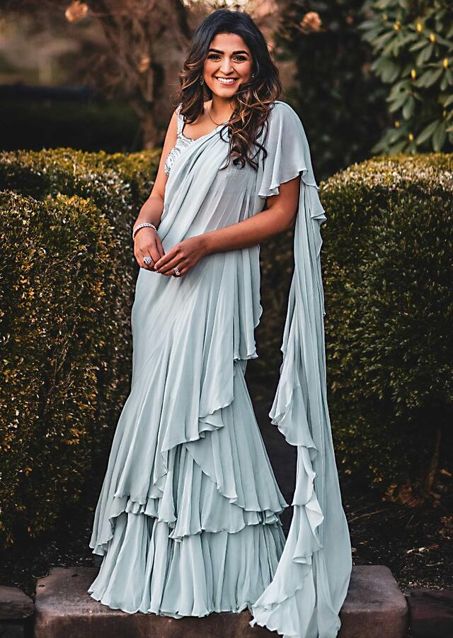 Powder Blue Stitched Saree In Chiffon With Layers And Ruffles Online - Kalki Fashion