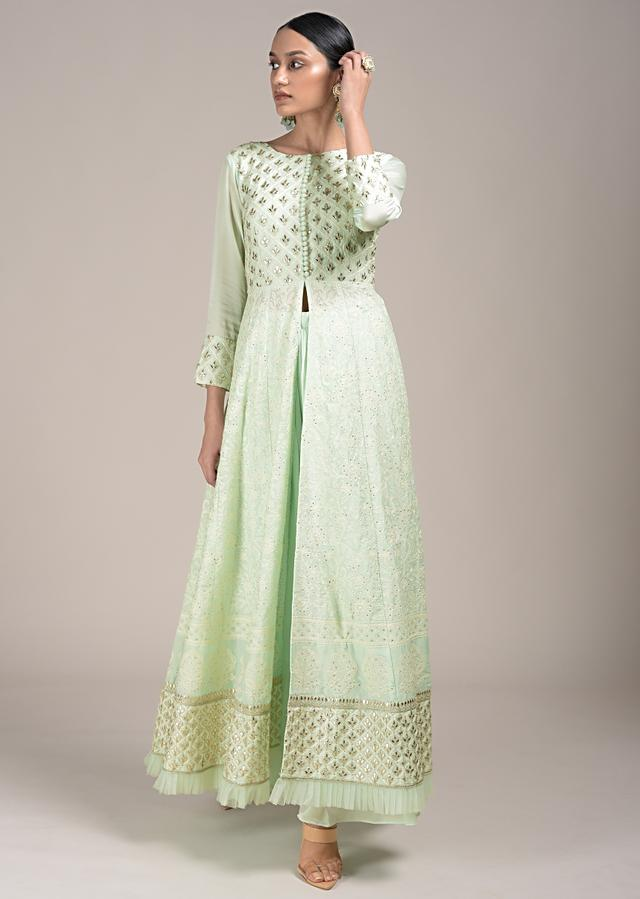 Powder Green Palazzo Suit With A Lucknowi Anarkali Kurti Having A Front Slit And Gotta Work Online - Kalki Fashion