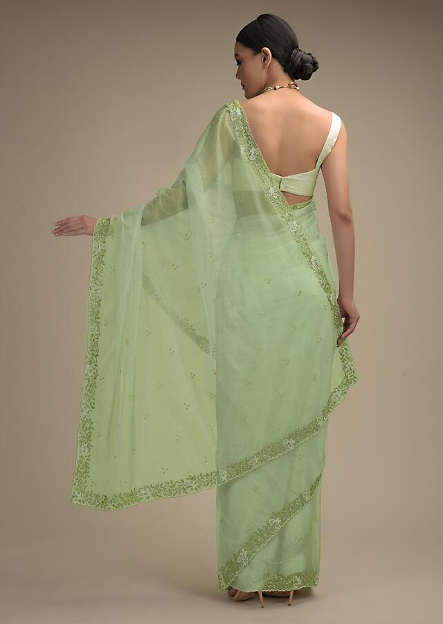 Powder Green Saree In Organza With Hand Embroidered Floral Floral Border And Scattered Buttis Online - Kalki Fashion