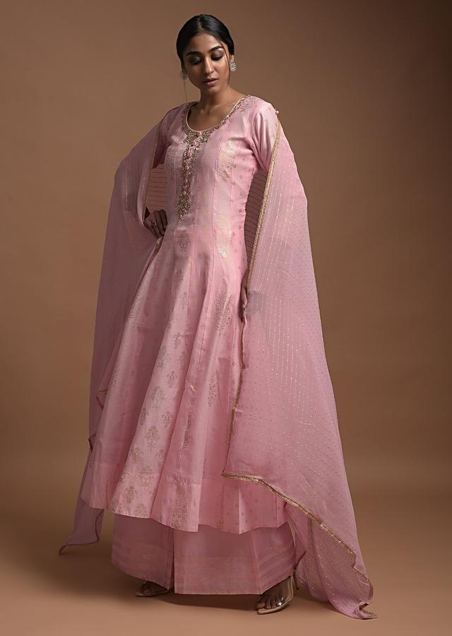 Powder Pink Anarkali Suit In Cotton Silk With Foil Printed Floral Motifs And Zardozi Embroidered Neckline Online - Kalki Fashion