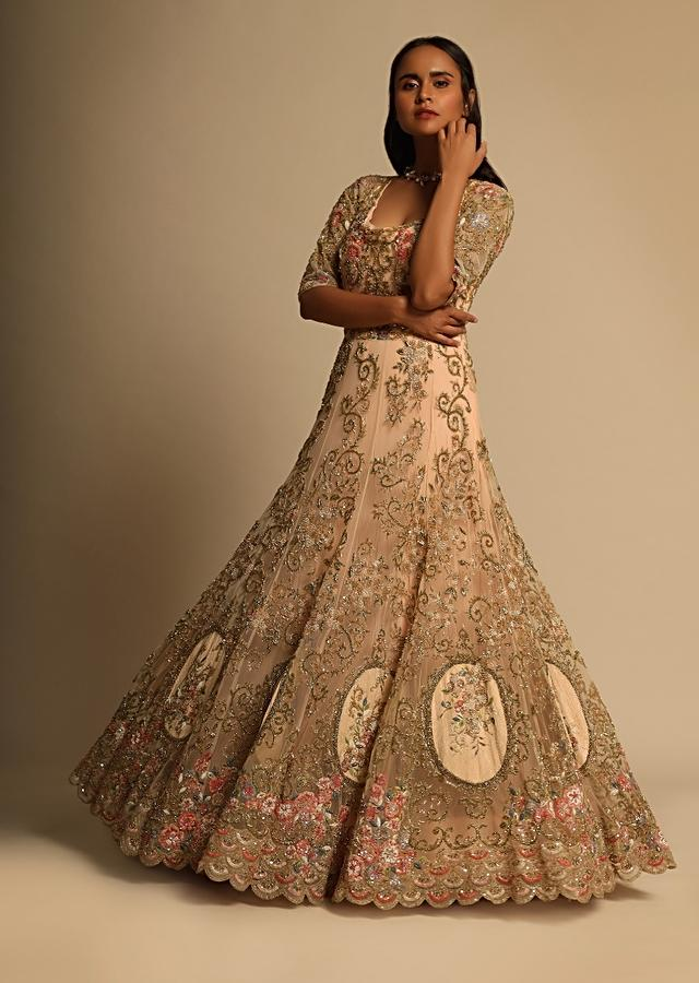 Powder pink ethnic gown in net fabric only on Kalki
