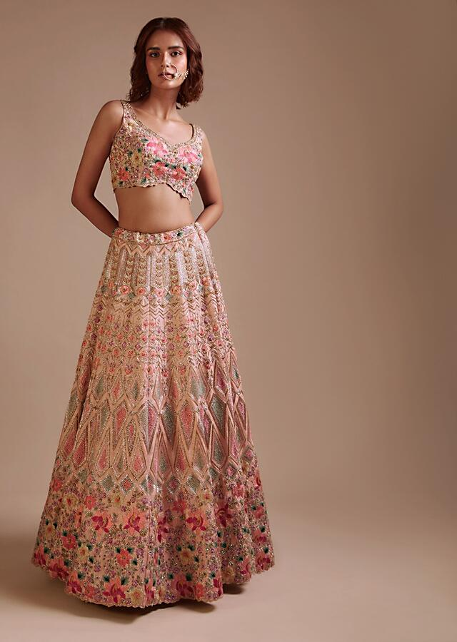Powder Pink Lehenga Choli In Raw Silk With Colorful Resham And Sequins Embroidered Geometric And Floral Motifs Online - Kalki Fashion