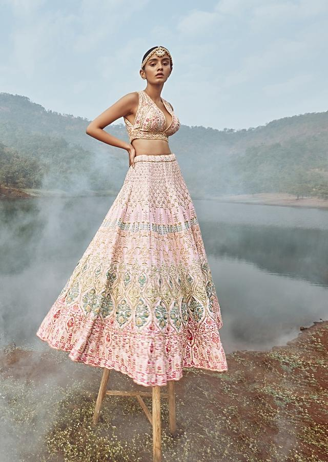 Powder Pink Lehenga Choli With Multicolor Hand Embossed Embroidery Detailing In Floral And Moroccan Motifs Online - Kalki Fashion