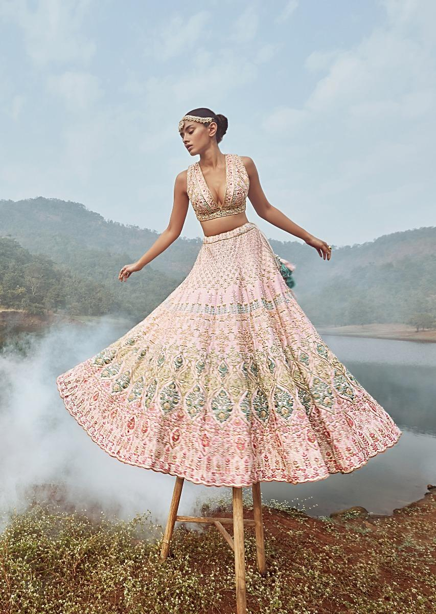 Buy Powder Pink Lehenga Choli With Multicolor Hand Embossed Embroidery  Detailing In Floral And Moroccan Motifs Online - Kalki Fashion