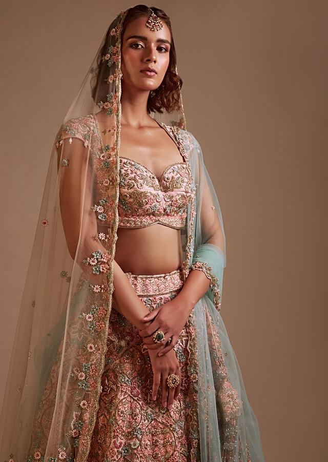 Powder Pink Lehenga In Raw Silk Heavily Hand Embroidered In Floral And Moroccan Motifs Along With 3D Flower Detailing Online - Kalki Fashion