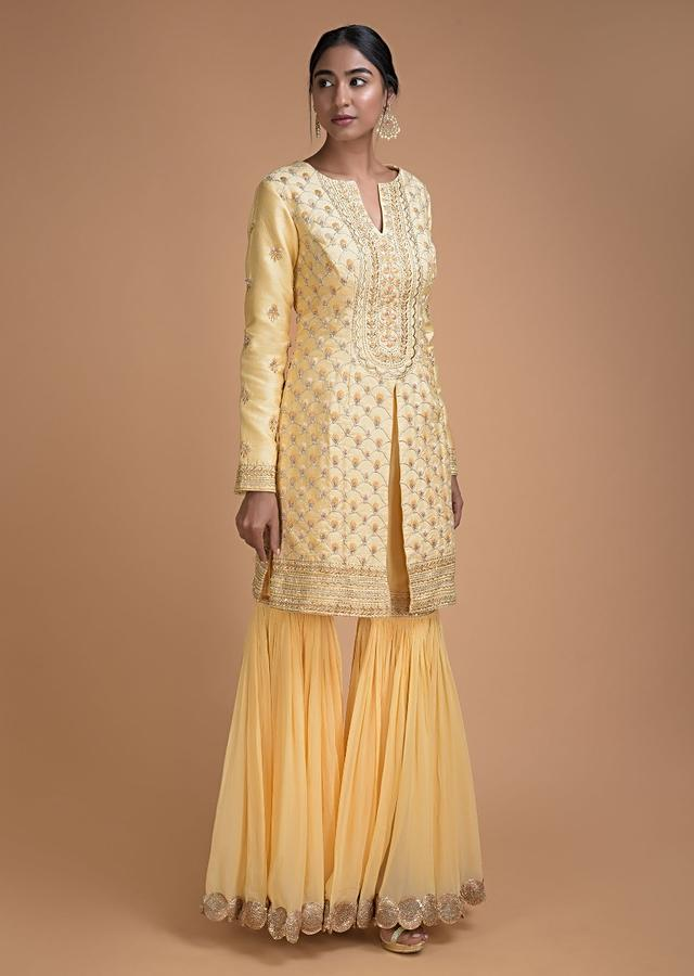 Powder Yellow Sharara Suit With Resham Embroidery In Floral And Scallop Pattern Online - Kalki Fashion
