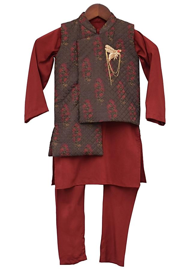 Printed Nehru Jacket With Kurta And Churidar by Fayon Kids