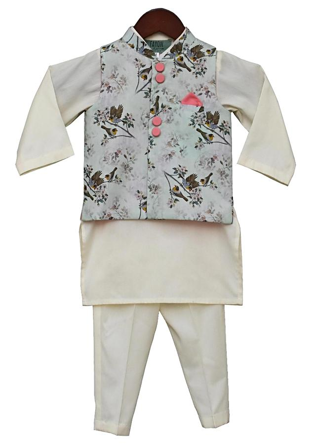 Printed Nehru Jacket with Offwhite Kurta & Pant By Fayon Kids