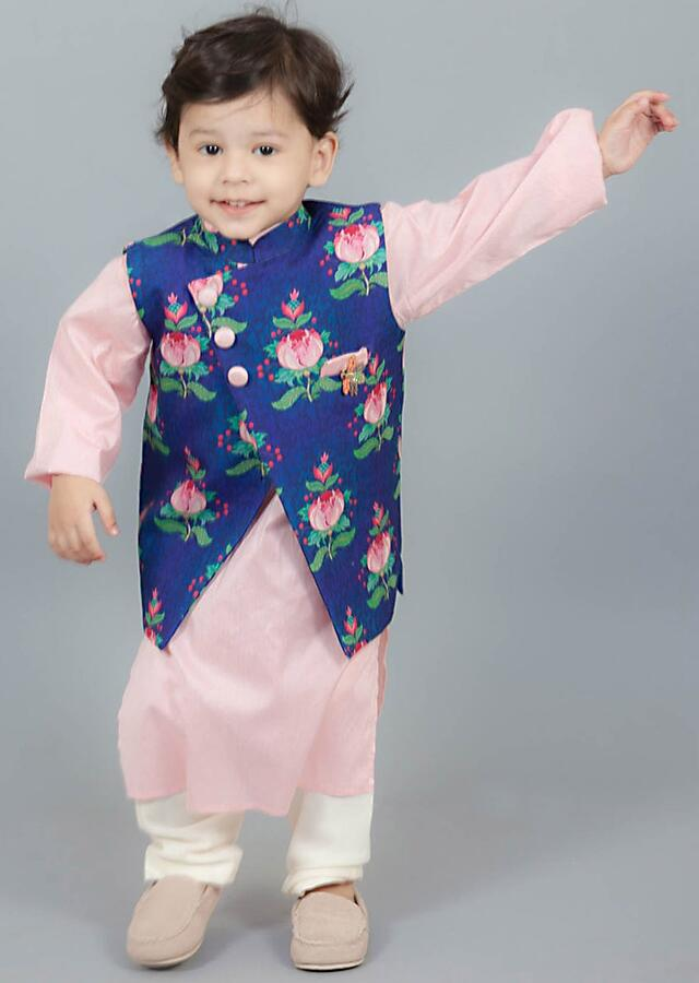 Nehru Jacket With Print Teamed With Pink Kurta And Churidar by Fayon Kids