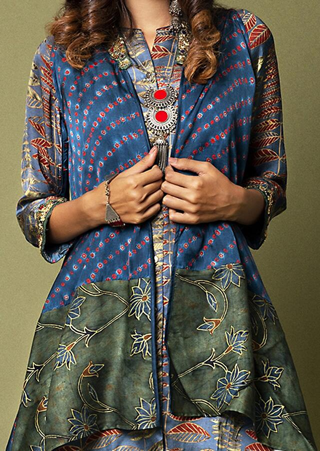 Prussian Blue Ajrakh Printed Shirt With A Bandhani Cape And Emerald Green Cowl Pants Online - Kalki Fashion