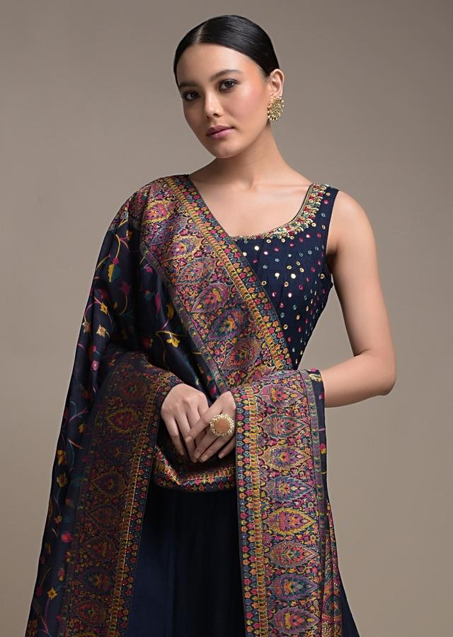 Prussian Blue Anarkali Suit In Cotton Silk Adorned With Abla Embroidered Buttis Online - Kalki Fashion