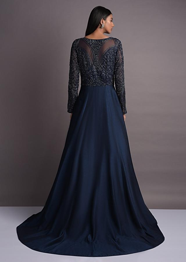 Prussian Blue Anarkali Suit With Embellished Bodice And Trail In The Back Online - Kalki Fashion