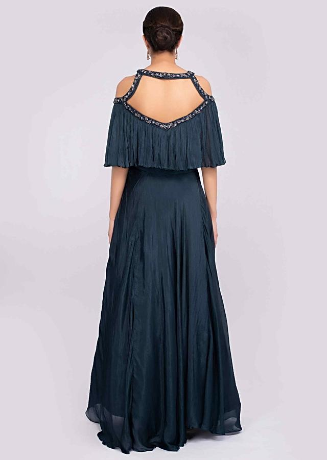 Prussian Blue Lehenga In Crepe Chiffon Paired With A Matching Crop Top With Fancy Cut Out Neck And Back Online - Kalki Fashion