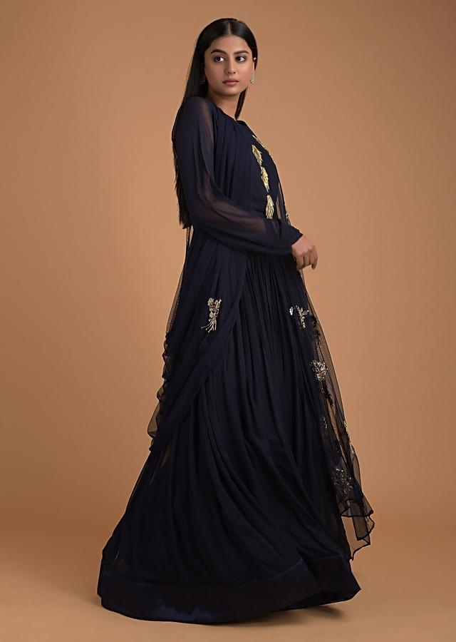Prussian Blue Indowestern Gown With Attached Net Drape Online - Kalki Fashion