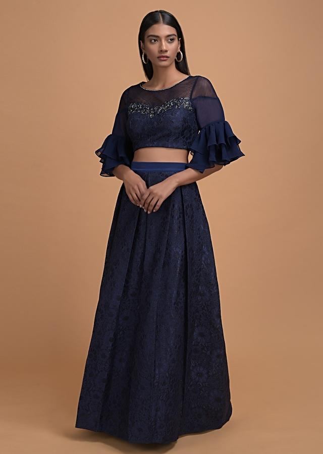 Prussian Blue Lehenga Choli In Floral Lace Having Ruffle Sleeves Online - Kalki Fashion