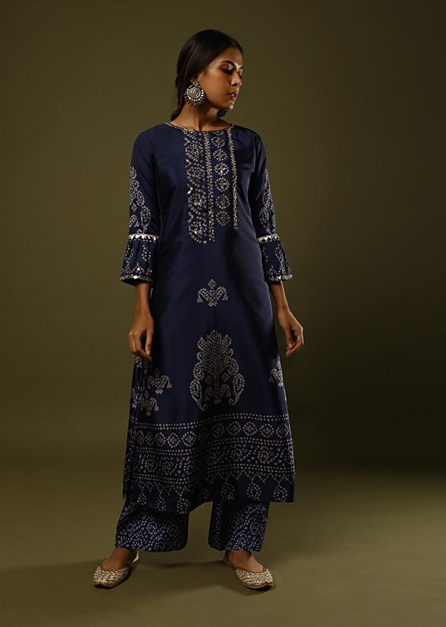 Prussian Blue Palazzo Suit In Silk With Digital Printed Bandhani Motif And Foil Work Online - Kalki Fashion