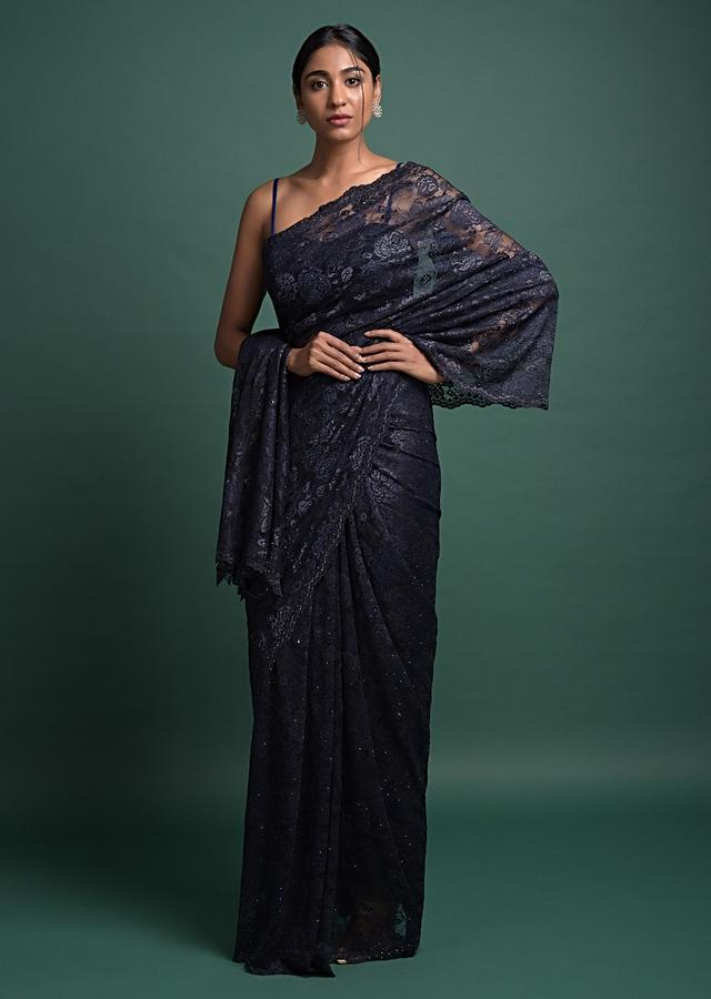 Prussian Blue Saree In Floral Lace With Kundan Work Online - Kalki Fashion
