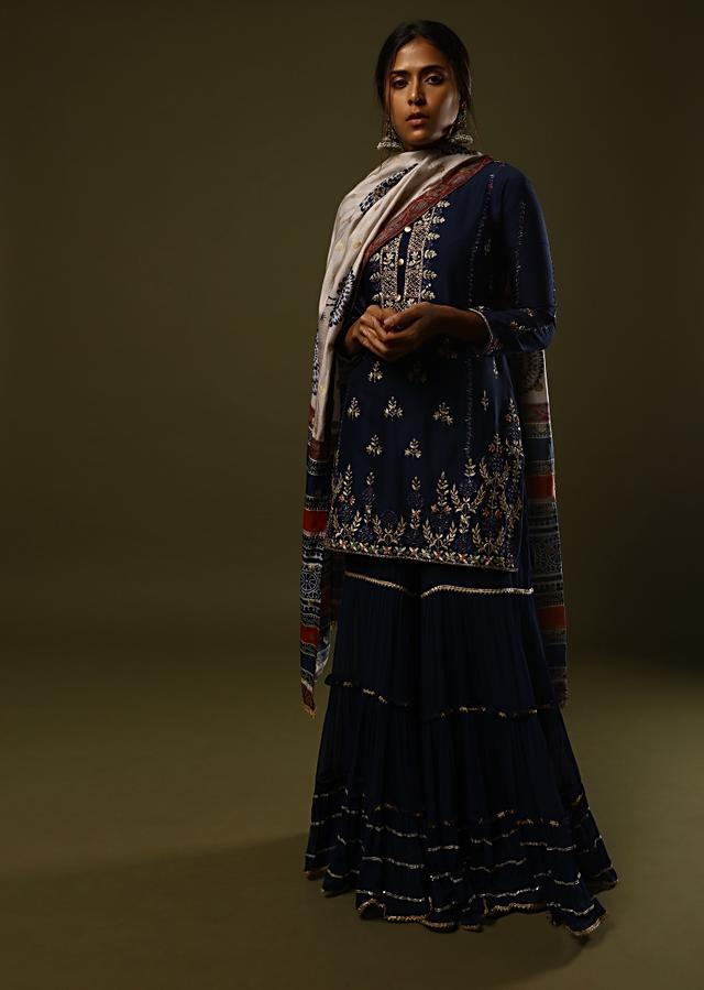 Prussian Blue Sharara Suit In Cotton Adorned In Mirror, Thread And Zari Embroidery And Printed Dupatta Online - Kalki Fashion