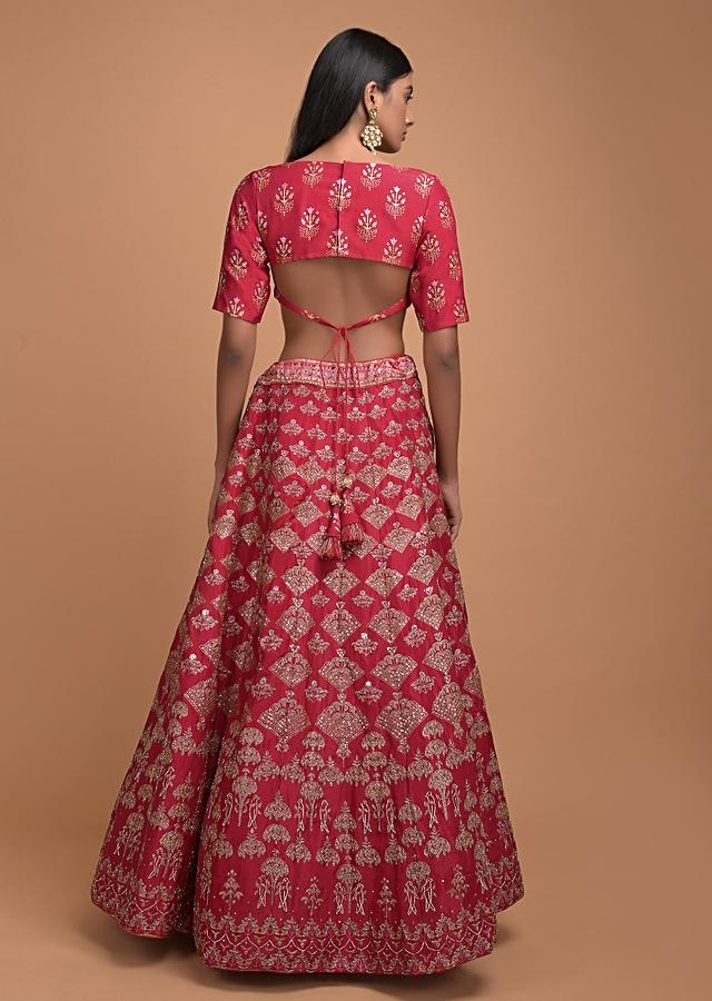 Scarlet Red Lehenga With Foil Printed Buttis And Chandelier Motifs Online - Kalki Fashion