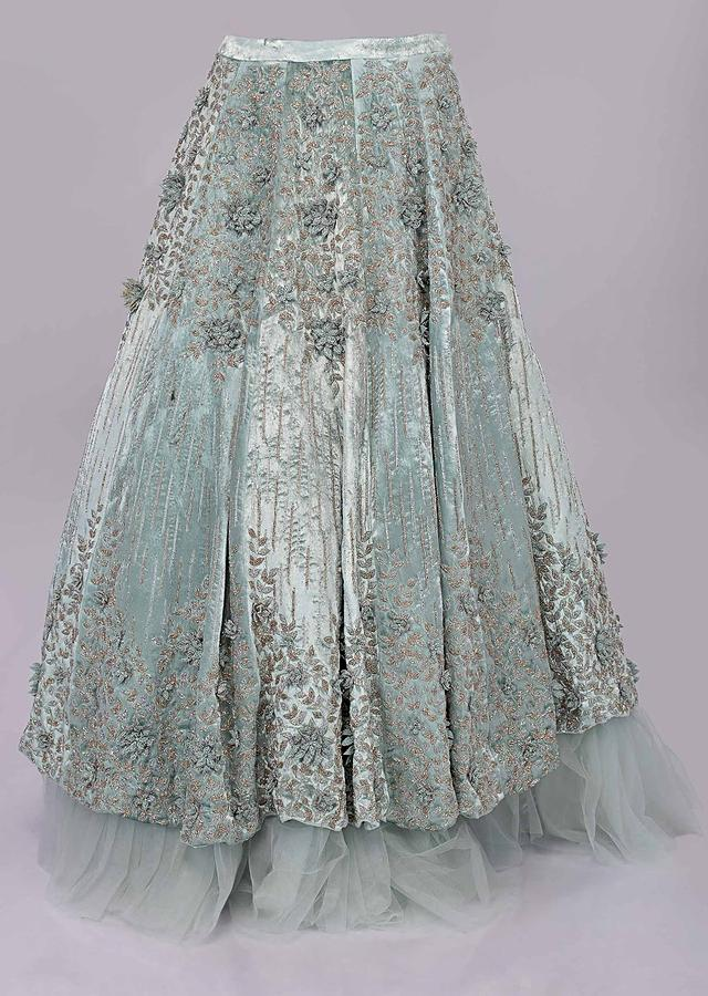 Aviary Blue Lehenga In Embroidered Velvet Paired With Matching Corset With Attached Draped Dupatta Online - Kalki Fashion