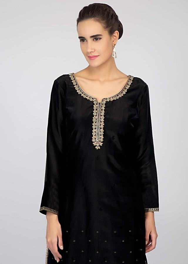 Black Palazzo Suit Set With Golden Weaved And Zari Embroidery Online - Kalki Fashion