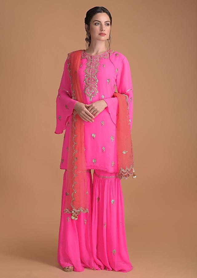 Bubble Gum Pink Sharara Suit With Gotta Patch Work And Flared Sleeves Online - Kalki Fashion