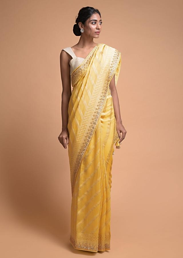 Daffodil Yellow Banarasi Saree In Georgette With Weaved Diagonal Stripes All Over Online - Kalki Fashion