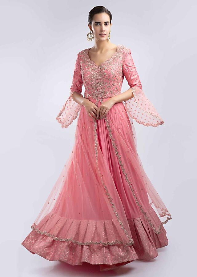 Punch Pink Anarkali Dress Embellished In Zardosi, Sequins, Cut Dana And Moti Embroidery Online - Kalki Fashion