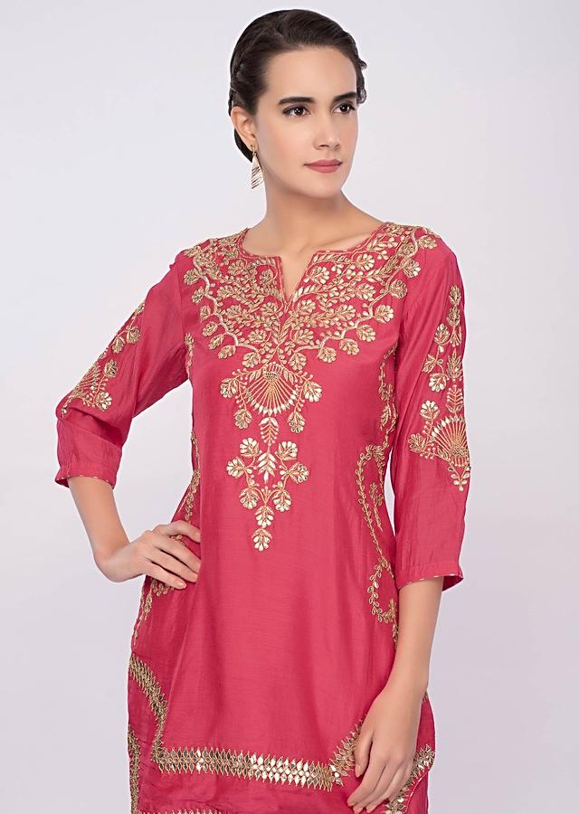 Punch pink cotton silk gotta patch embroidered sharara suit set only on Kalki