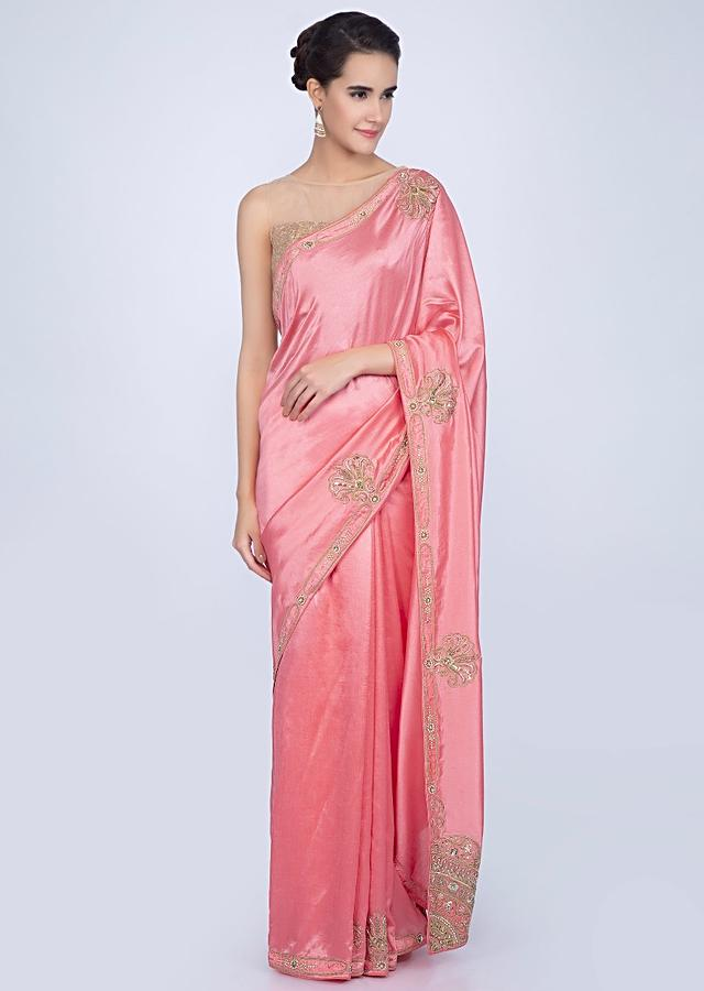 Punch Pink Saree In Dupion With Embroidered Border And Pallo In Abstract Motif Online - Kalki Fashion