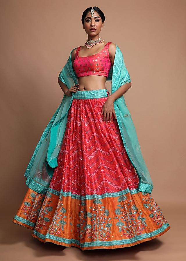 Punch Pink Lehenga Choli With In Silk With Bandhani Print And Floral Printed Border Online - Kalki Fashion