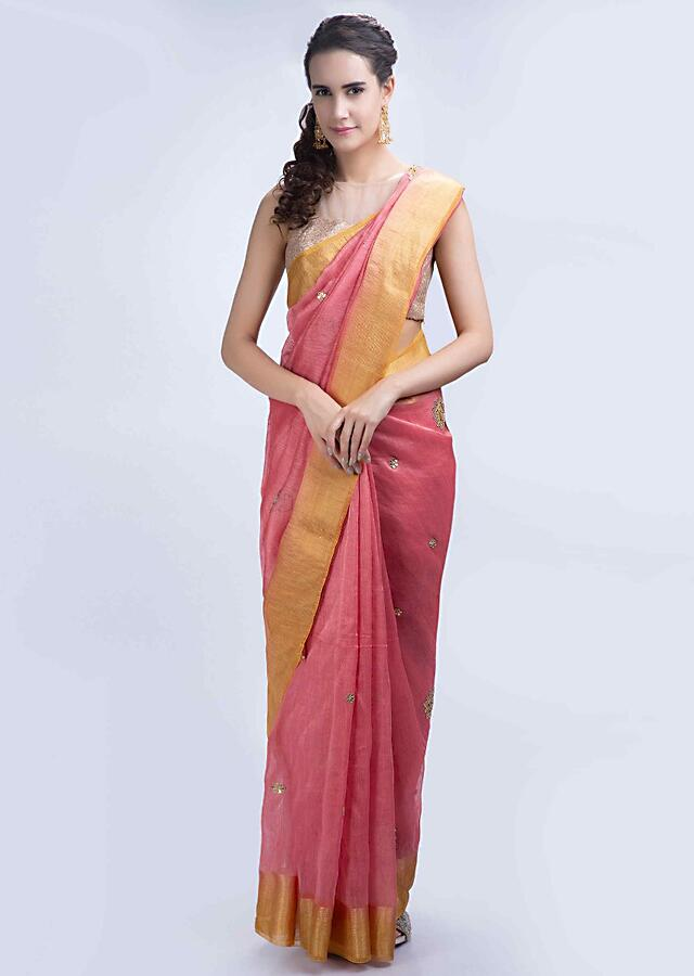 Punch Pink Linen Saree With Gotta Embroidery And Butti Online - Kalki Fashion